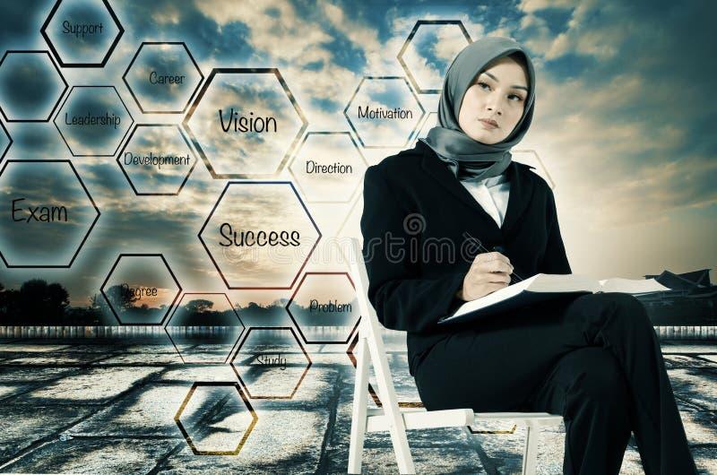 Молодые женщины сидя, держащ книгу и взгляд на ее будущем стоковое фото rf