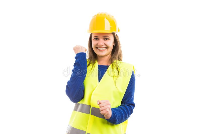 Молодые жизнерадостные привлекательные женские инженер или архитектор стоковые изображения