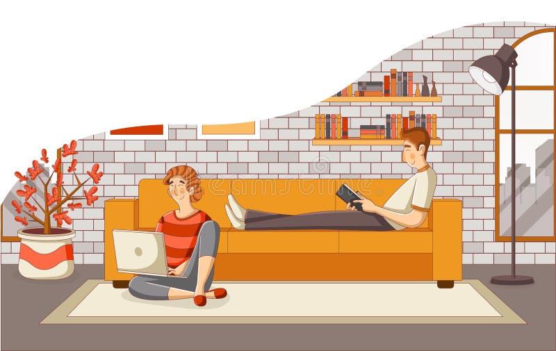 Молодые книга чтения пар и ноутбук использования на софе в живущей комнате иллюстрация вектора