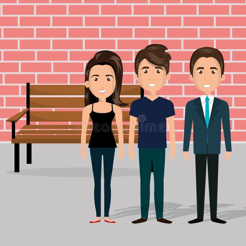 Молодые люди в сцене характеров стула парка бесплатная иллюстрация
