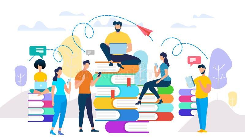 Молодые люди изучают, подготавливают для экзамена получают знание бесплатная иллюстрация
