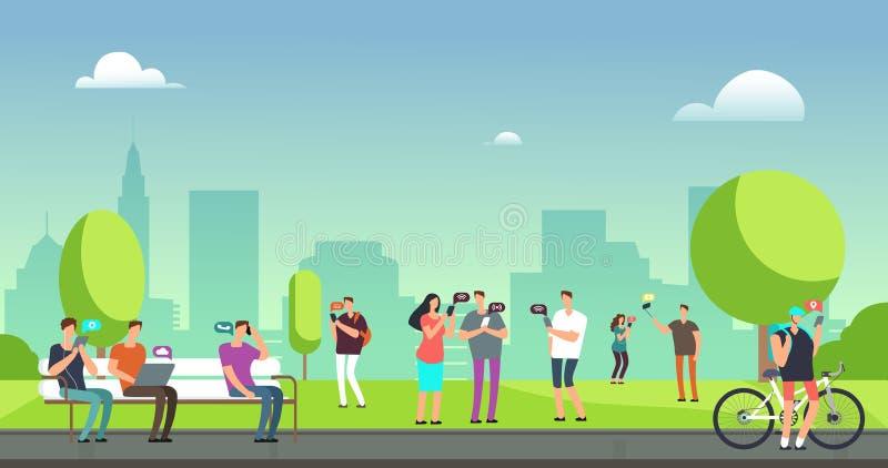 Молодые люди используя smartphones и таблетки идя outdoors в парке Передвижная концепция вектора наркомании интернета иллюстрация вектора
