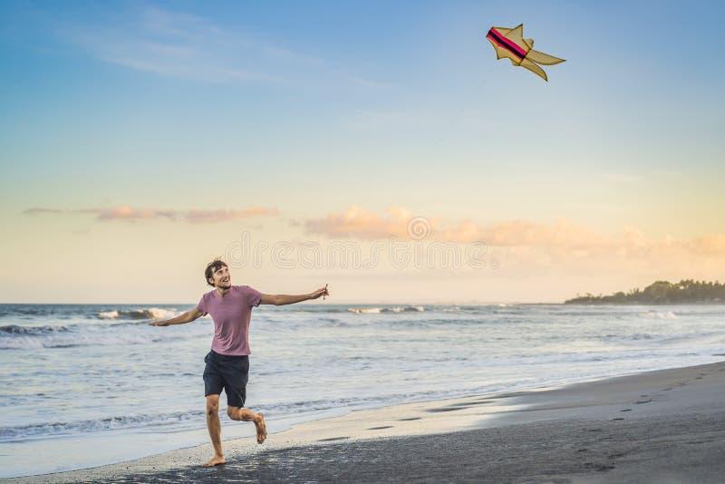 Молодые люди летая змей на заход солнца на пляже стоковое изображение