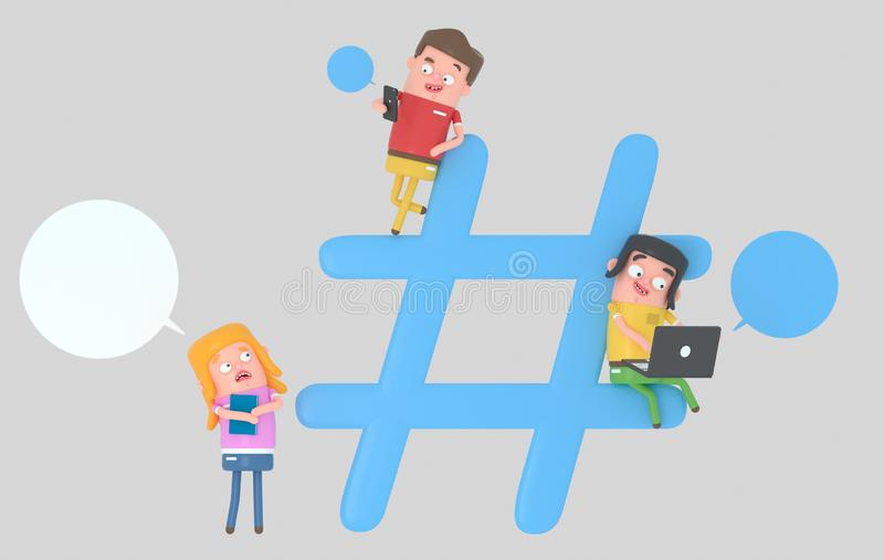 Молодые люди над символом интернета hashtag иллюстрация 3d стоковое фото rf