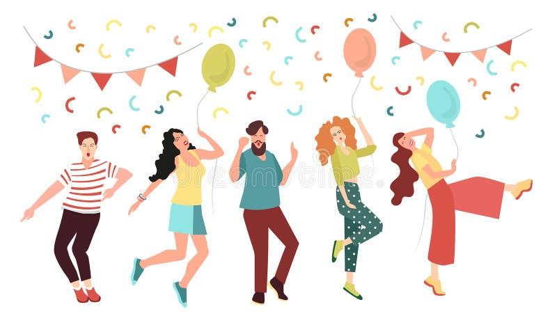 Молодые люди на партии радуются и танцуют Счастливые люди и женщины бесплатная иллюстрация