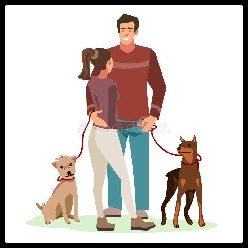 Молодые люди стояли с их собаками иллюстрация штока