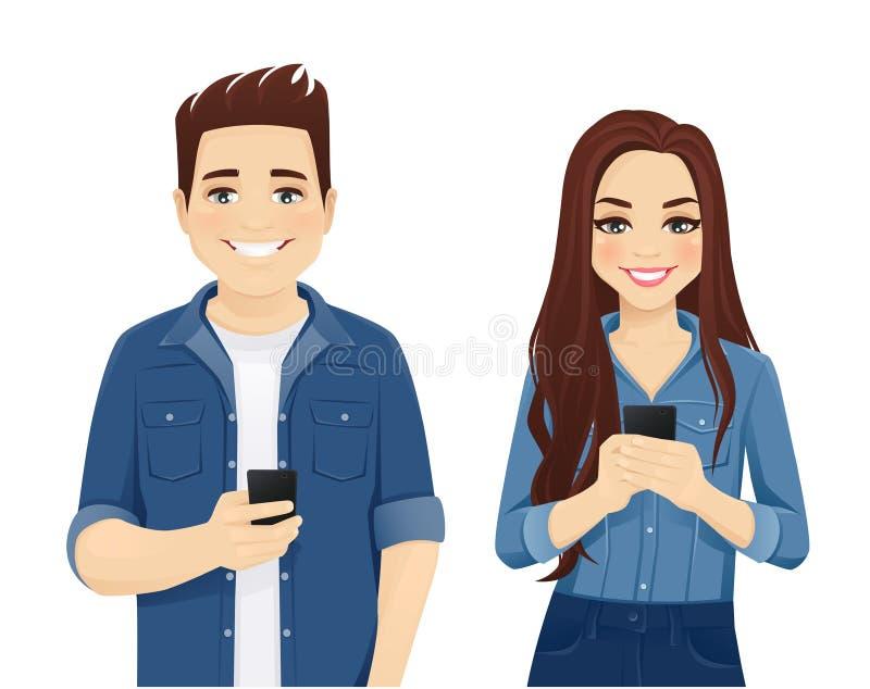 Молодые люди с устройствами иллюстрация штока