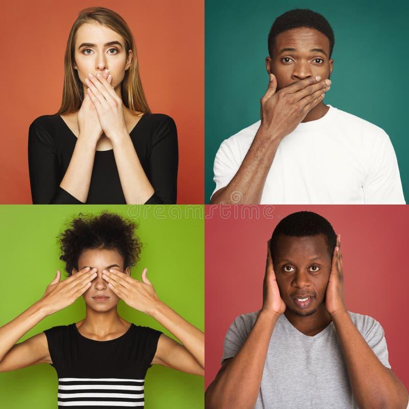 Молодые люди эмоций на красочных предпосылках студии стоковое изображение rf