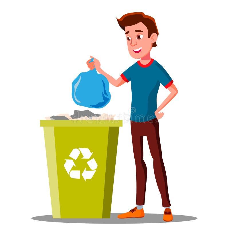 Молодые мешки для мусора Гай бросая в вектор контейнера изолированная иллюстрация руки кнопки нажимающ женщину старта s иллюстрация штока