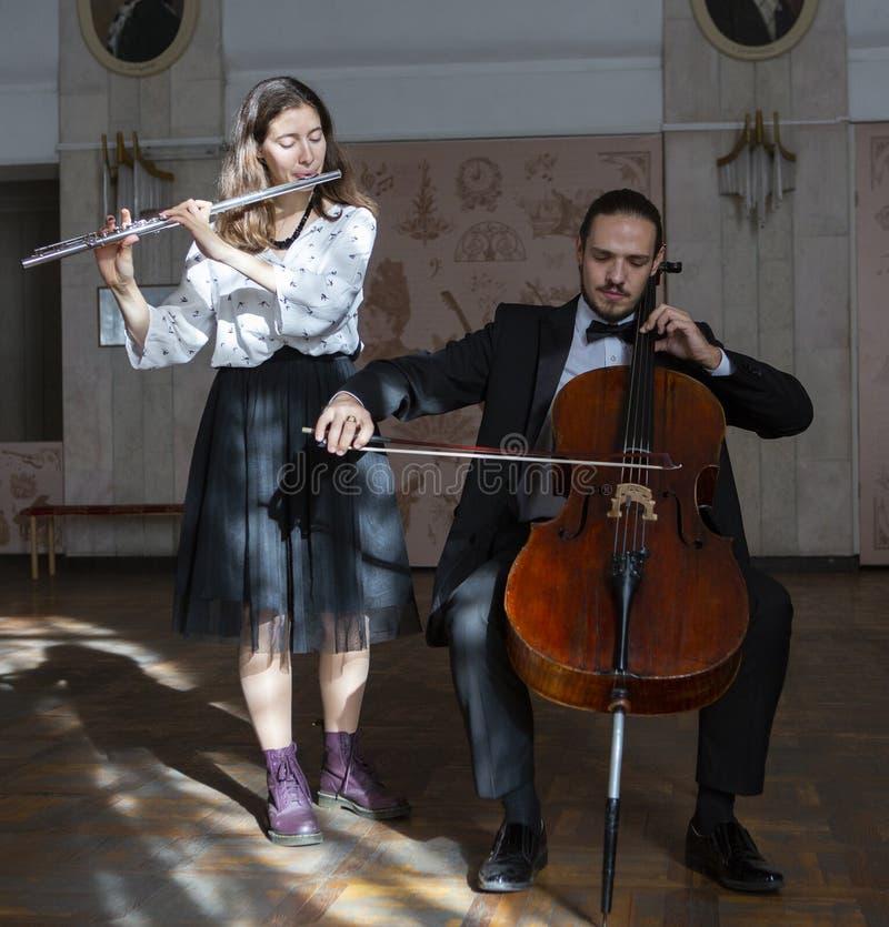Молодые музыканты дуэта симфонического оркестра стоковые фотографии rf