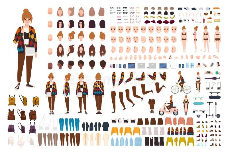 Молодые набор анимации девушки хипстера, генератор или набор DIY Пачка частей тела, ультрамодных случайных одежд, жестов, сторон бесплатная иллюстрация