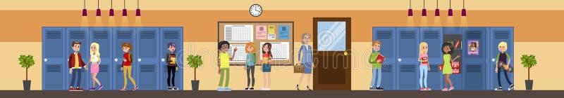 Молодые парни в зале школы иллюстрация штока
