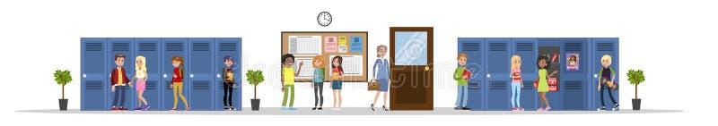 Молодые парни в зале школы иллюстрация вектора