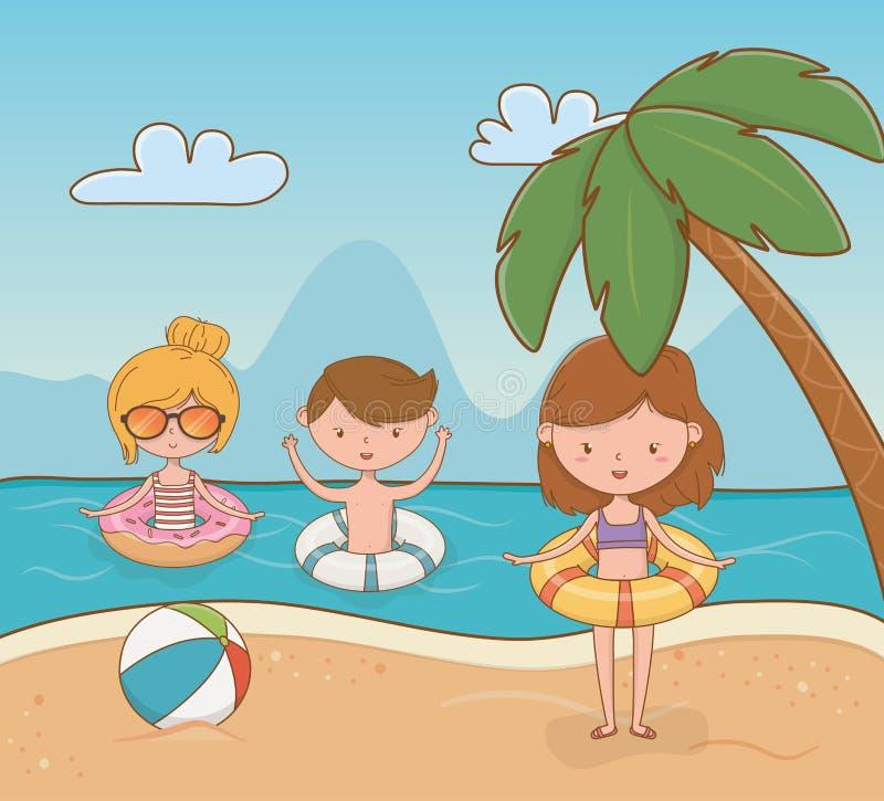 Молодые парни на сцене пляжа иллюстрация штока