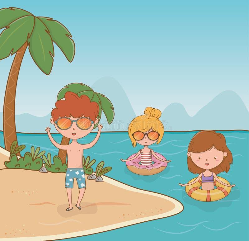 Молодые парни на сцене пляжа иллюстрация вектора