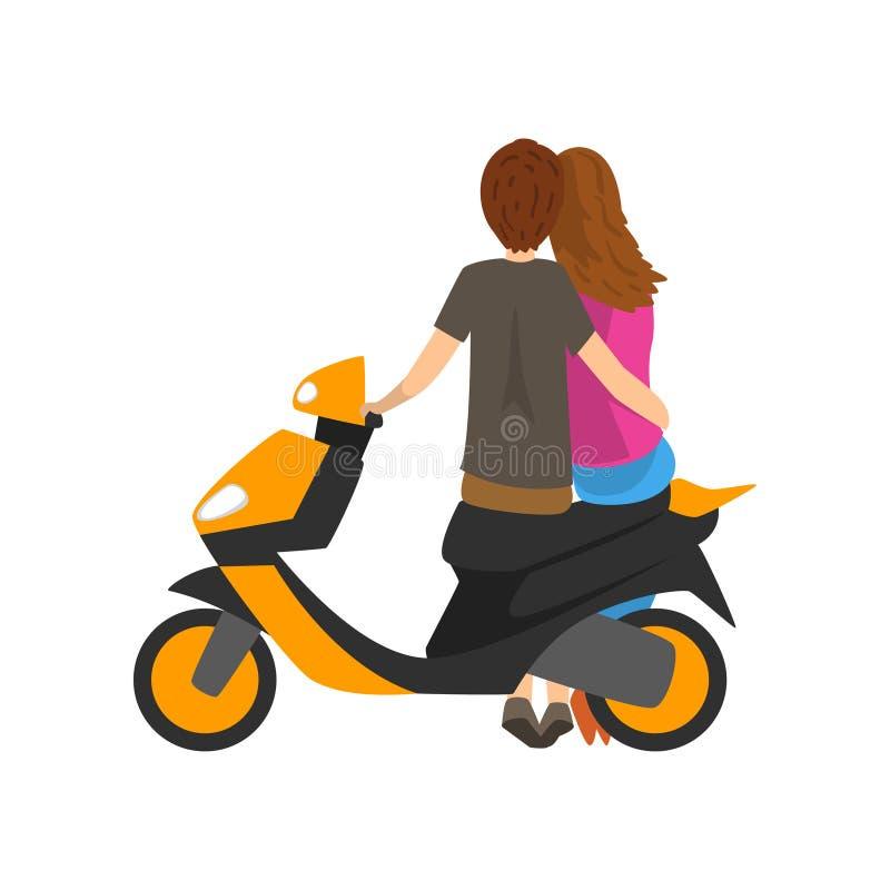 Молодые пары в влюбленности сидя на мотоцилк, задней иллюстрации вектора взгляда на белой предпосылке иллюстрация вектора
