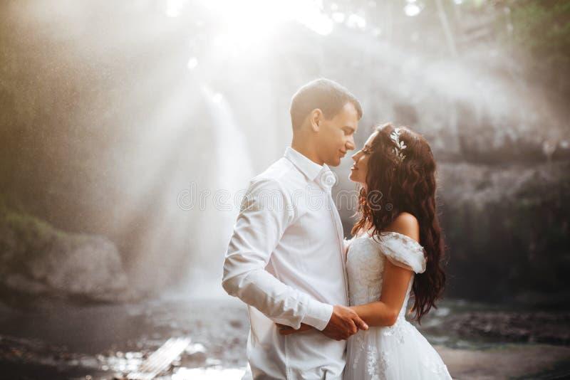 Молодые пары в женихе и невеста любов, день свадьбы около водопада горы стоковая фотография rf