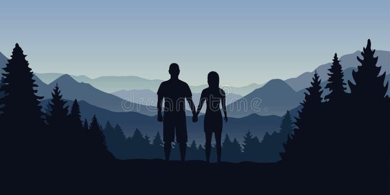 Молодые пары в лесе смотрят в расстояние на ландшафте горы иллюстрация штока