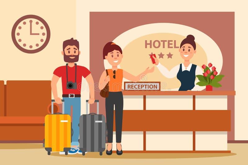 Молодые пары на приеме гостиницы Клерк положение за столом и удлиняя рукой с ключевой карточкой нутряное лобби плоско иллюстрация вектора
