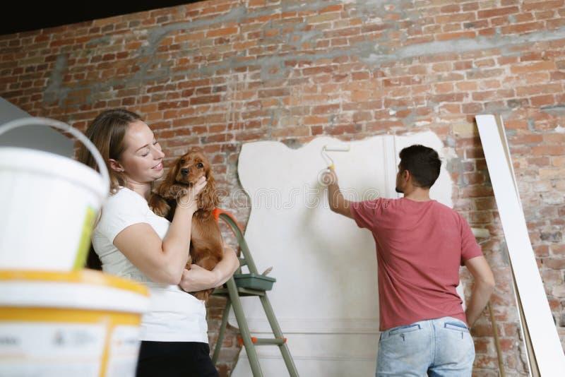 Молодые пары сами делая ремонт квартиры совместно стоковое фото rf