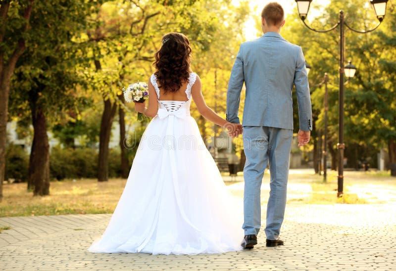 Молодые пары свадьбы держа руки пока идущ в парк стоковая фотография