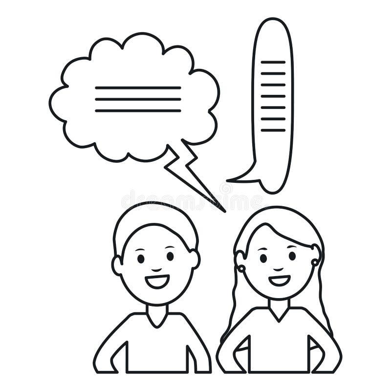 Молодые пары с рамкой характеров воплощений пузырей речи квадратными и illustraitor вектора элементов дня рождения иллюстрация штока