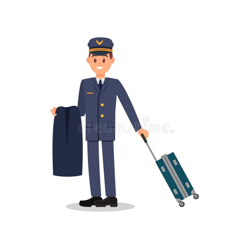 Молодые пилотные держа куртка и чемодан Капитан в голубых костюме и крышке Работник гражданской авиации Изолированный плоский век иллюстрация штока