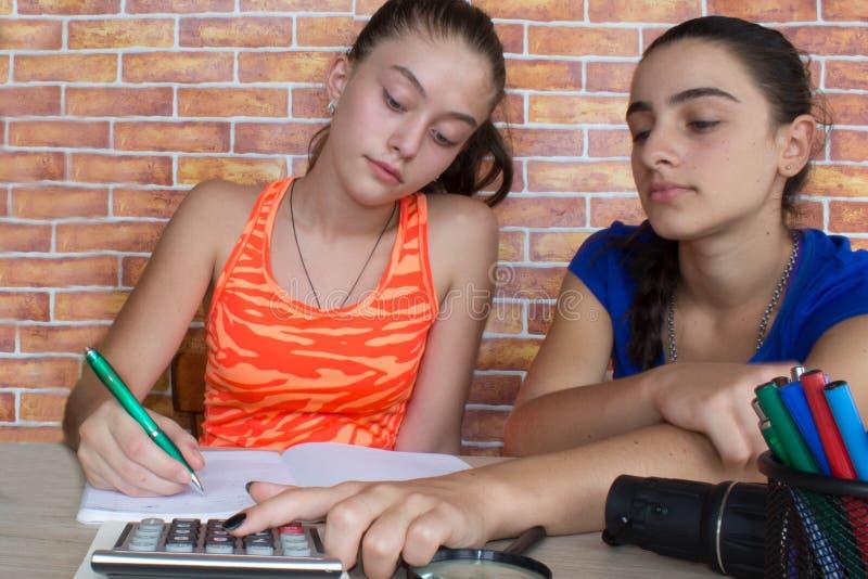 молодые привлекательные девушки студента изучая уроки Мысли, образование, концепция творческих способностей стоковое фото rf