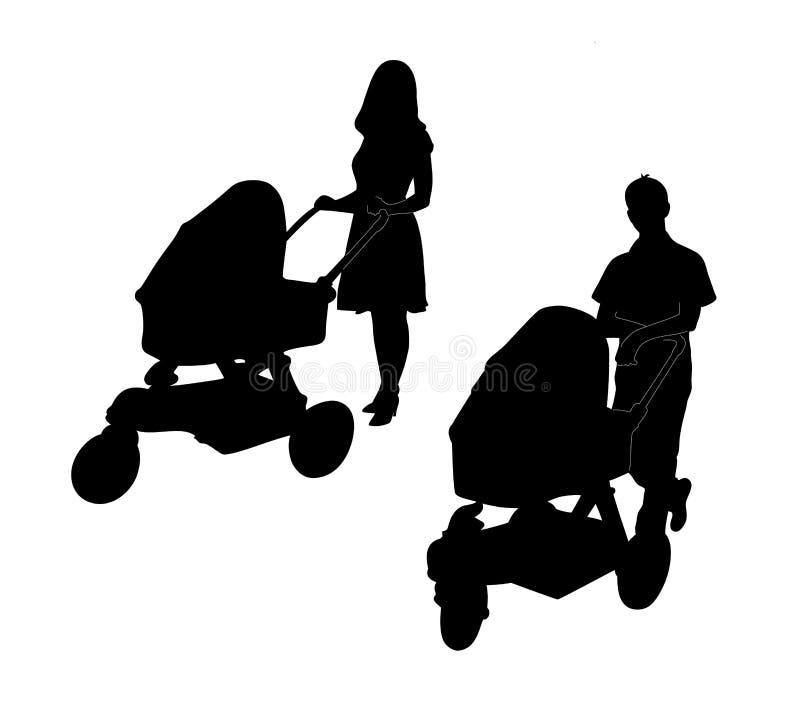 Молодые родители нажимая прогулочные коляски иллюстрация вектора