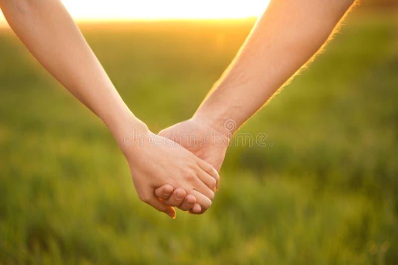 Молодые симпатичные пары держа руки в зеленом поле стоковая фотография