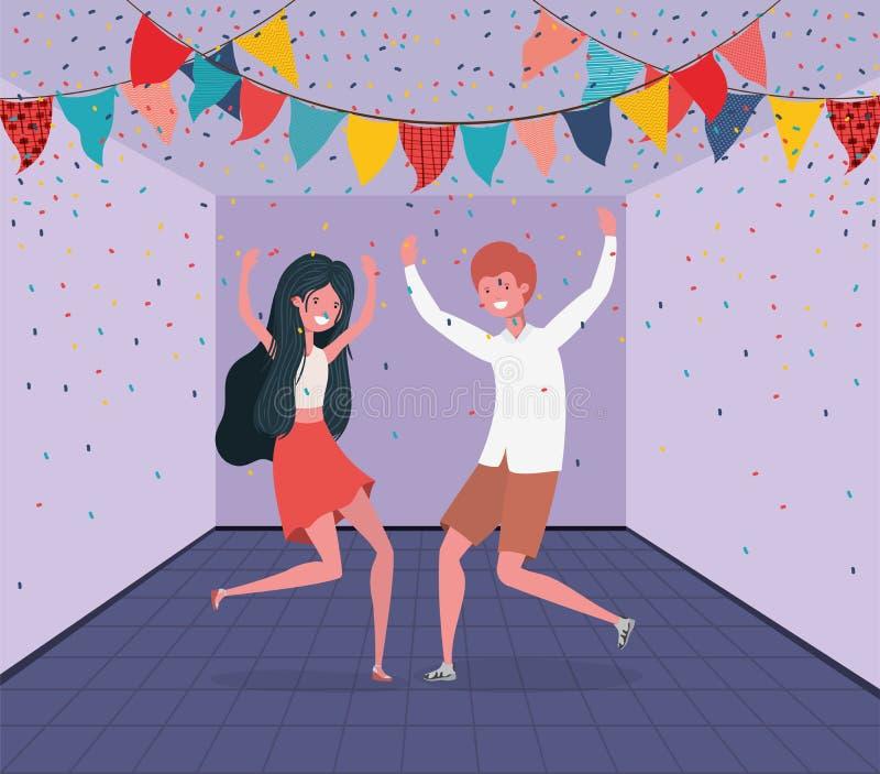 Молодые танцы пар в комнате бесплатная иллюстрация