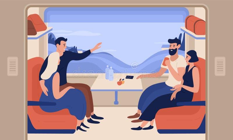 Молодые усмехаясь люди и женщины путешествуя поездом Жизнерадостные люди сидя в пассажирском автомобиле и говоря друг к другу бесплатная иллюстрация