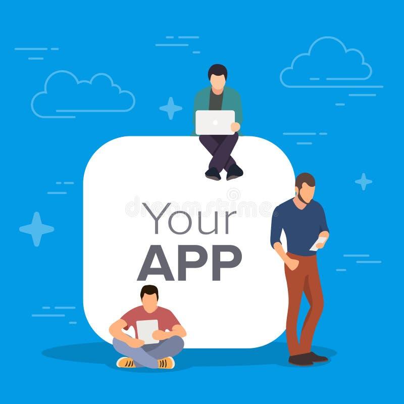 Молодые человеки стоя около большого символа app черни используя умные телефоны для читая новостей и отправляя СМС сообщения к др бесплатная иллюстрация