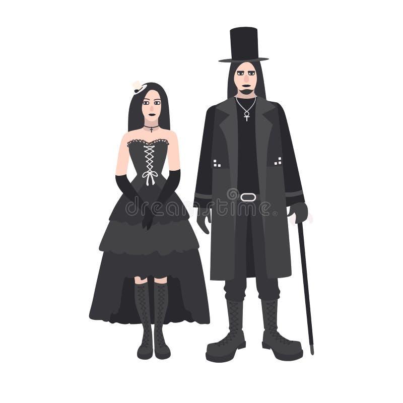 Молодые человек и женщина goth с длинными волосами одели в черной одежде стоя совместно Парень и подружка готско иллюстрация вектора