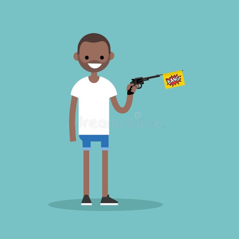 Молодые черный характер держа оружие игрушки с флагом челки/плоский бесплатная иллюстрация