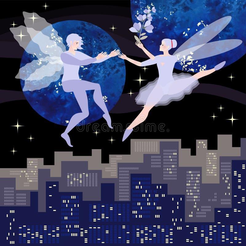Молодые эльфы соединяют танцы в ночном небе, символизируя элементы воздуха в астрологии иллюстрация штока