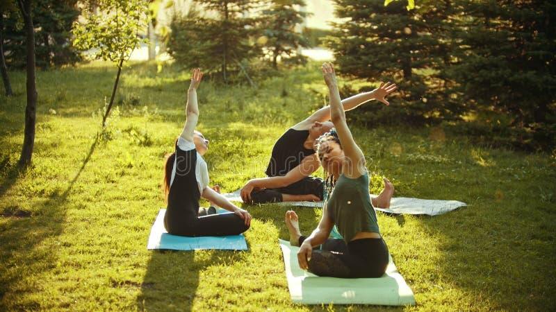2 молодых привлекательных женщины и человек делая тренировки йоги в парке окруженном яркими ыми-зелен деревьями стоковая фотография rf