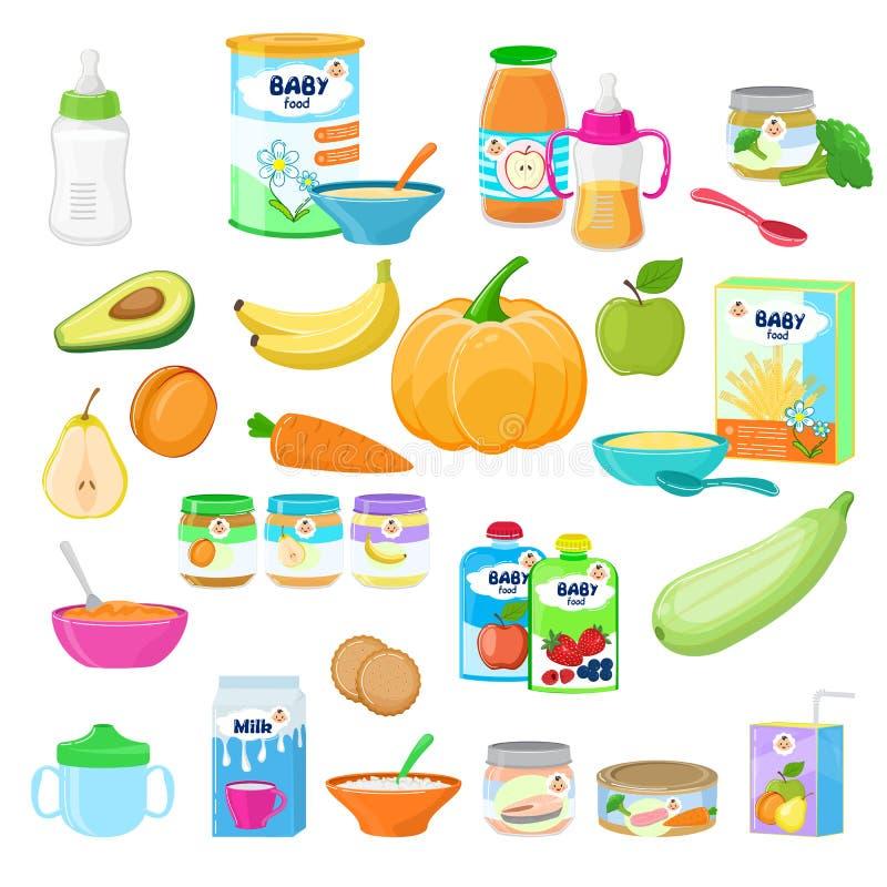 Молока питания ребенка вектора детского питания сок здорового свежий с фруктами и овощами помял пюре для здоровья ухода за ребенк иллюстрация штока