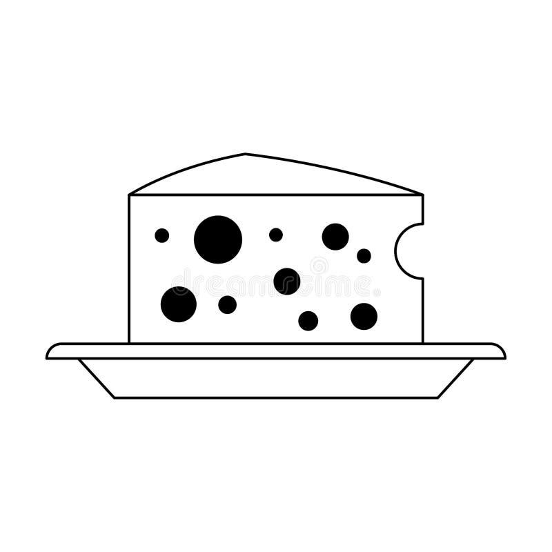 Молокозавод сыра на еде блюда в черно-белом иллюстрация штока