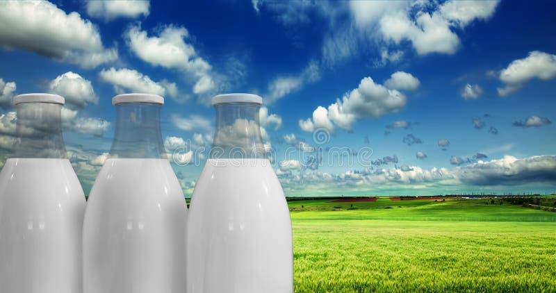 Молоко в бутылках на фоне стоковое фото rf