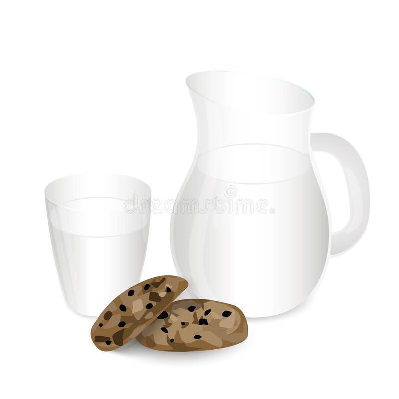 Молоко в опарнике с печеньями изолированными на белой предпосылке бесплатная иллюстрация