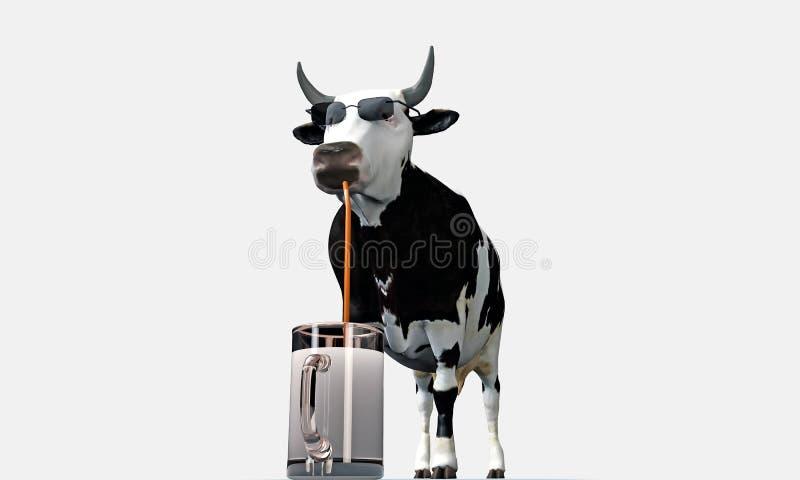 Молоко коровы выпивая иллюстрация штока