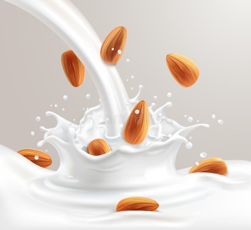 Молоко миндалины иллюстрация штока