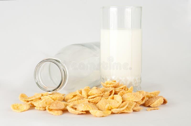 молоко стекла cornflakes стоковое изображение