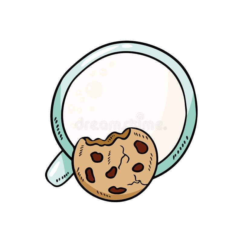 Молоко с печеньем на белой предпосылке Еда завтрака сладкая и питательная Изображение милого стиля мультфильма уютное иллюстрация вектора