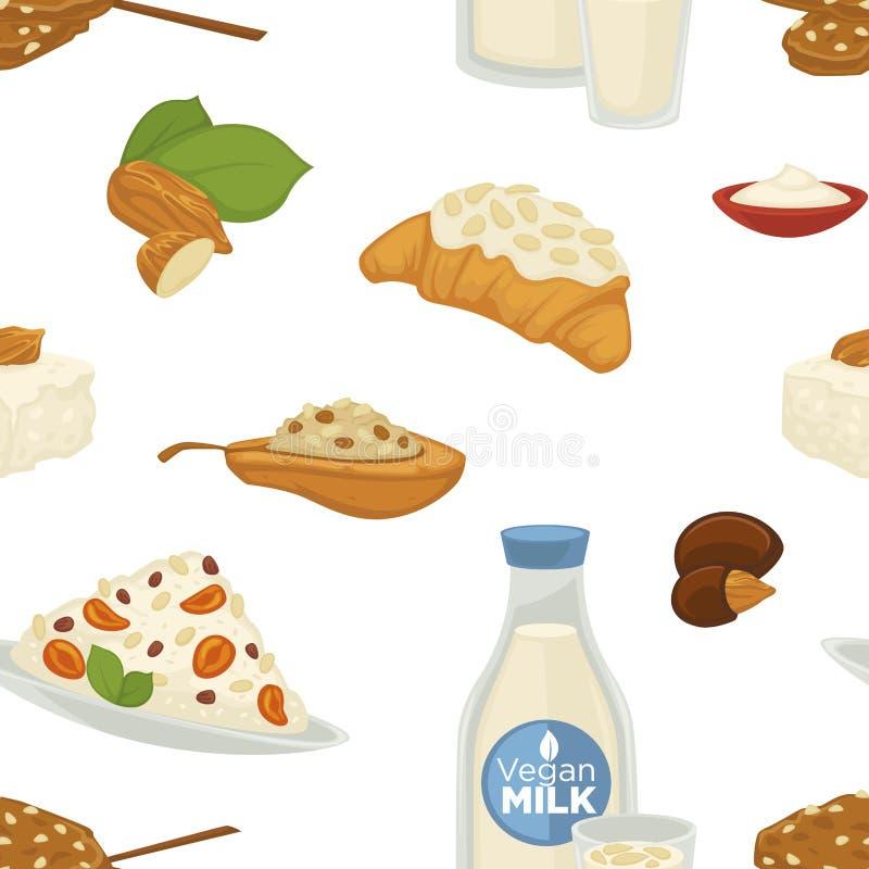Молоко Vegan, молочные продучты и вектор еды помадок хлебопекарни бесплатная иллюстрация