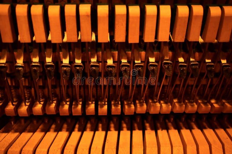 Молотки и строки внутри рояля стоковая фотография