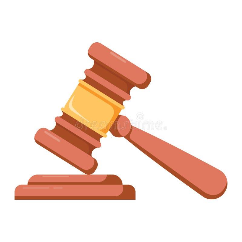 Молоток деревянного судьи церемониальный руководителя с курчавой рукой иллюстрация штока