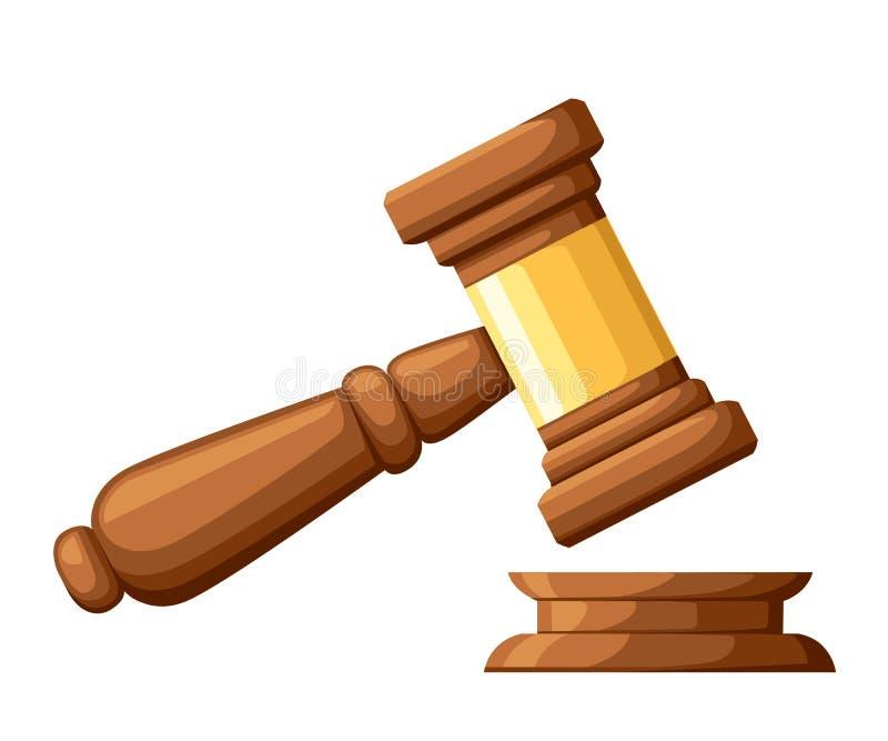 Молоток древесины судьи Молоток в стиле шаржа Церемониальный мушкел для аукциона, суждения Иллюстрация вектора изолированная на б бесплатная иллюстрация