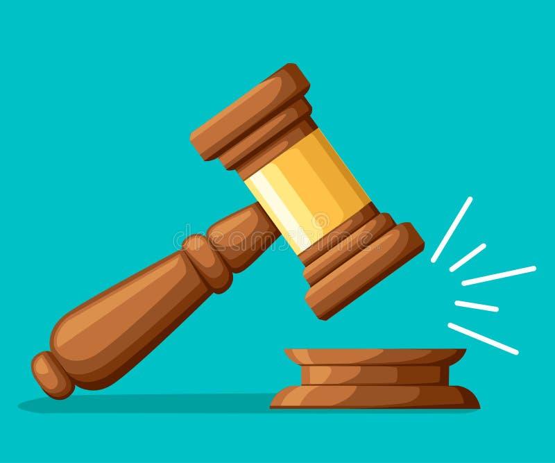 Молоток древесины судьи Молоток в стиле шаржа Церемониальный мушкел для аукциона, суждения Иллюстрация вектора изолированная на з иллюстрация вектора